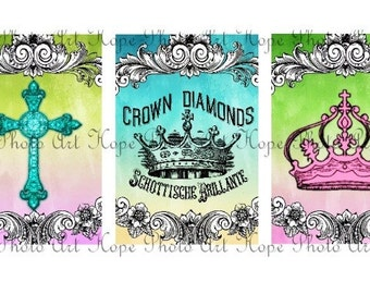 Easter Royal Crowns Vintage Cross 2x3 tags Digital Collage Sheet ATC ACEO postcard greeting cards stationary - U print 300dpi jpg