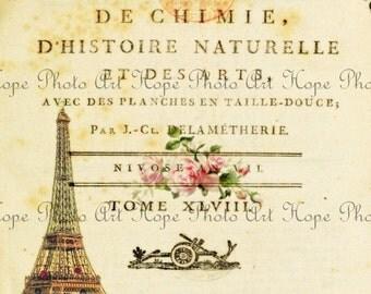 Vintage French Journal Digital Collage Sheet eiffel tower paris image transfer greeting card burlap totes canvas digital paper UPrint 300jpg