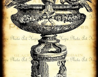 Ornamental French Birdbath Digital Collage Sheet Image Transfer Burlap Feed Sacks Canvas Pillows Tea Towels greeting cards UPrint 300jpg