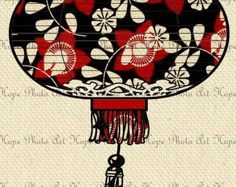 Chinese Lantern Red and Black Digital Collage Sheet Image Transfer Burlap Feed Sacks Canvas Pillows Towels greeting cards tote UPrint 300jpg