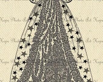 Fairy Princess Ball Gown 8.5x11 Image Transfer Digital Collage Sheet Burlap Feed Sacks Canvas Pillows Tea Towels - U Print JPG 300dpi sh24