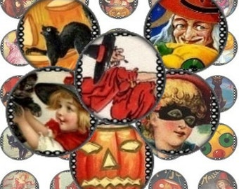 Victorian Halloween Pumpkins Witches Black Cats Digital Collage Sheet 1 inch Circle Printable pendants bottlecaps magnets bezel trays