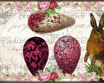 Easter Bunny 4x6 Postcard Digital Collage Sheet- Image Transfer greeting cards printable art paper supplies - U Print sh279