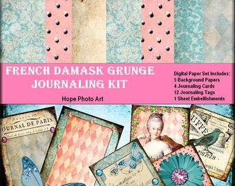 French Damask Grunge Digital Journaling Kit printable digital paper image transfer greeting cards paper supplies - U print jpg/png