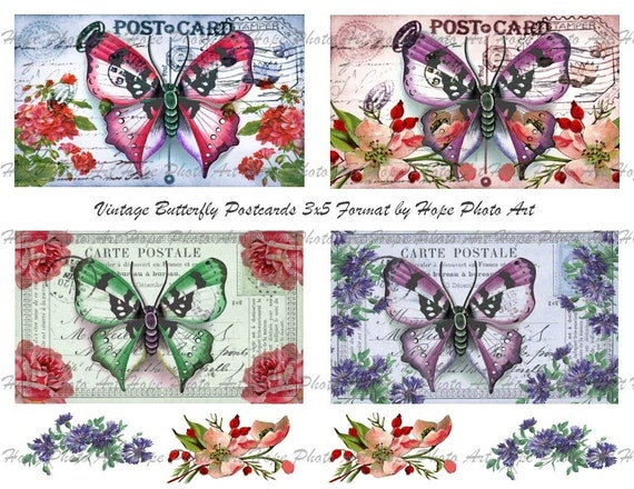 Vintage Butterfly Postcard Digital Collage Sheet 3x5 -  ATC ACEO tags greeting cards hang tags gift - U print 300dpi jpg sh80