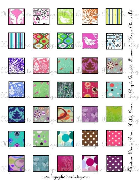 Icy Blues Pinks Christmas 1x1 Scrabble Digital Collage Sheet patera tags glass tile scrabble jewelry supplies - U print 300dpi jpg