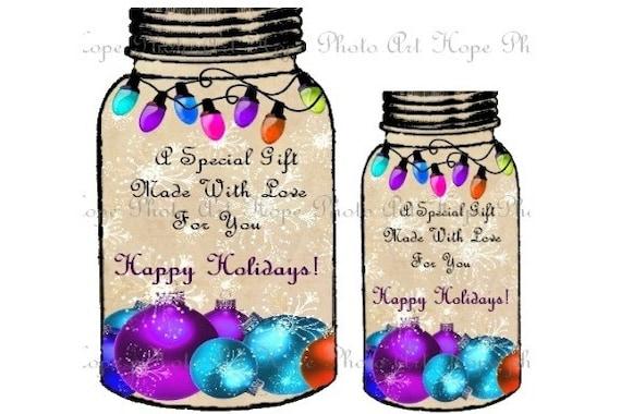 Christmas Snowflake Ornament Mason Jar Gift Tags - backgrounds ATC ACEO greeting cards - U Print JPG format 300dpi