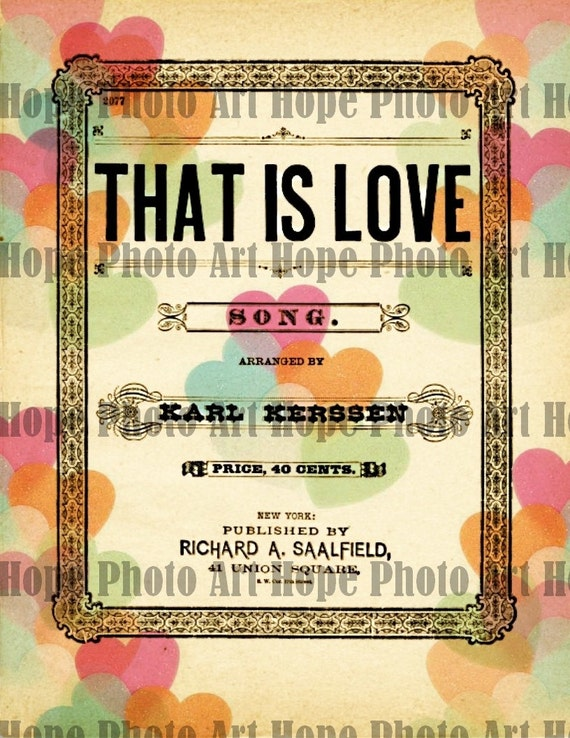 That Is Love Valentine Digital Collage Sheet - 8.5x11 image transfer greeting iron on transfer journal book cover sheet music - U Print