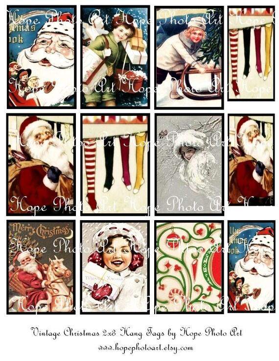 Victorian Christmas 2x3 Tags Digital Collage Sheet Santa Claus Sinterklaas stockings snow sled ATC ACEO tags greeting cards Uprint 300jpg