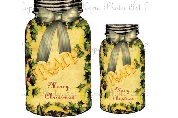 Mason Jar Holiday Holly Christmas Gift Tags - chef Victorian labels baking canning labels ATC ACEO -U print 300 dpi jpg