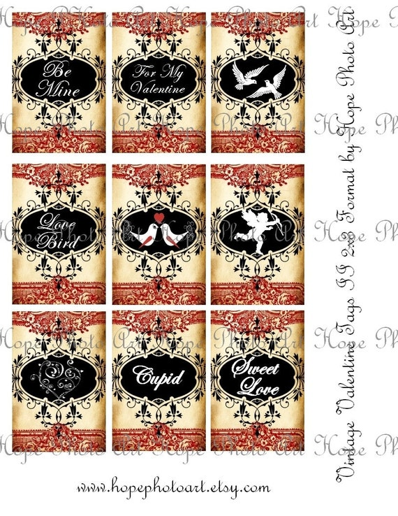Vintage Valentine Love Set of 18 Tags 2x3 Digital Collage Sheet Atc Aceo tags amore cupid love birds postcard greeting cards UPrint 300jpg