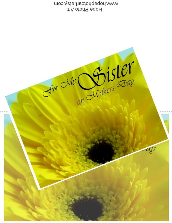 For My Sister Mother's Day Gerber Daisy DIY 5x7 Greeting - spring, mum, garden, bouquet, bloom, stationary - U-Print 300dpi