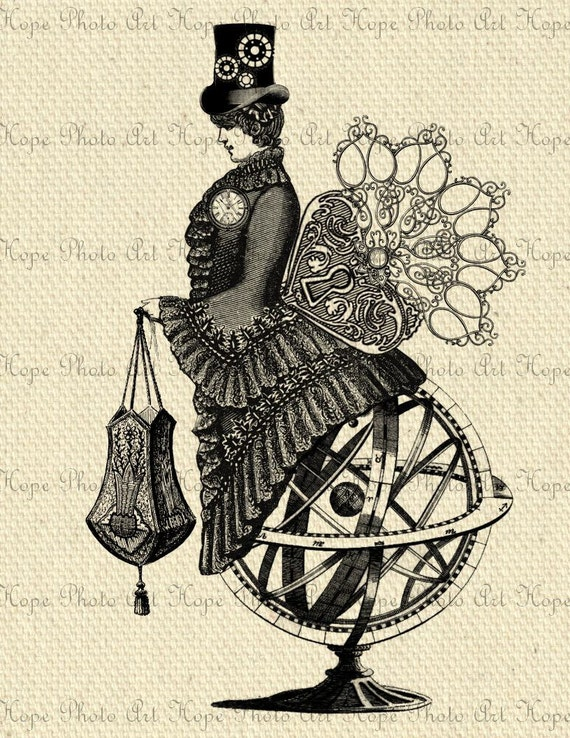Victorian Armillary Sphere Lady Steampunk Digital Collage Sheet Image Transfer Burlap Feed Sacks Canvas Pillows Tea Towels UPrint 300jpg