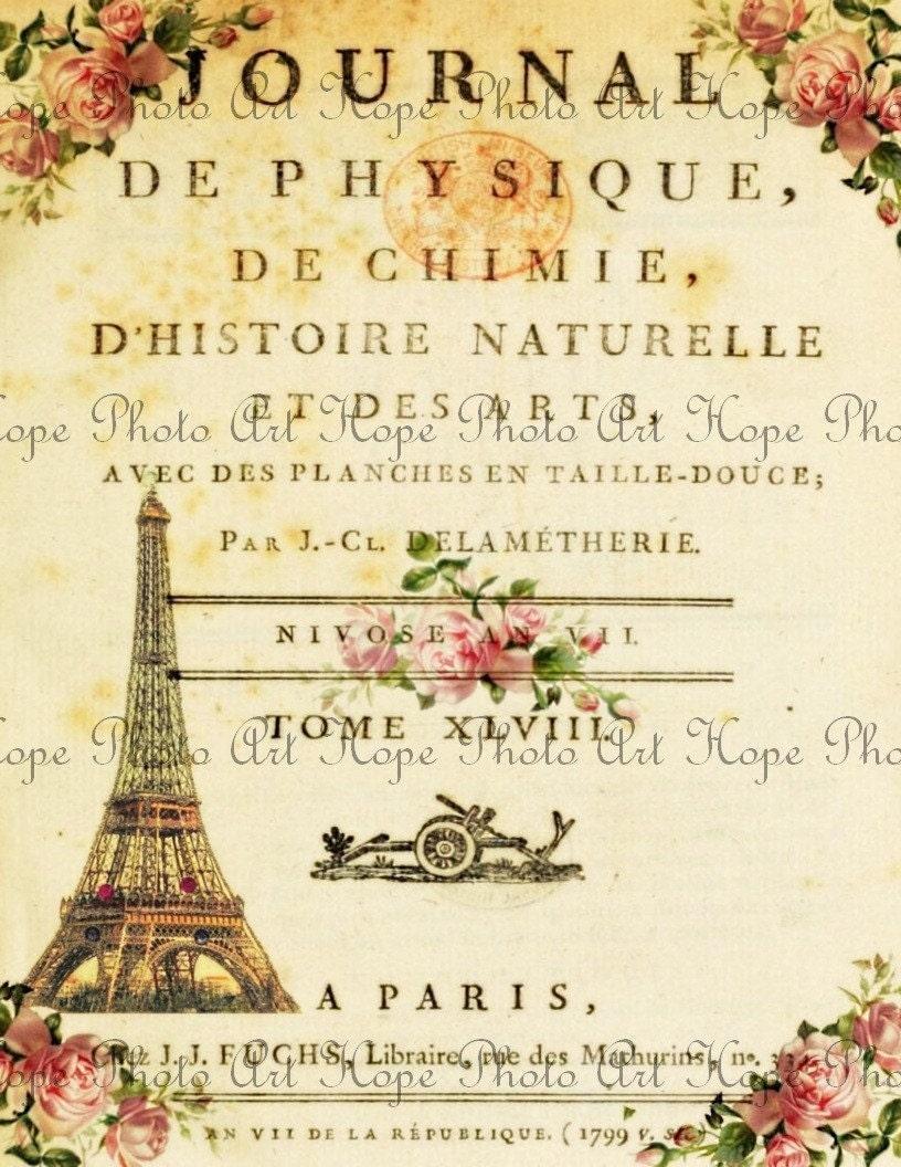 vintage french journal digital collage sheet eiffel tower. Black Bedroom Furniture Sets. Home Design Ideas