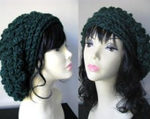 Slouchy Chunky Beanie LONDON Slouchy Hat Tam Wool Cap Bobble Benaie Pine Green or Choose Your Color