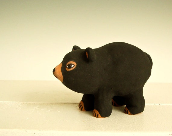 Black Bear Sculpture Handmade Pottery Clay Folkart