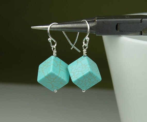 Turquoise Geometric Cube Earrings, Sterling silver hooks, simple, modern, gift idea for her, Free shipping Canada, turquoise dangle earings