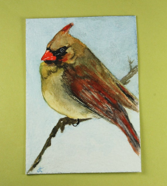 Original watercolor painting / ACEO / Female Cardinal / Birds in Our Garden series no. 14