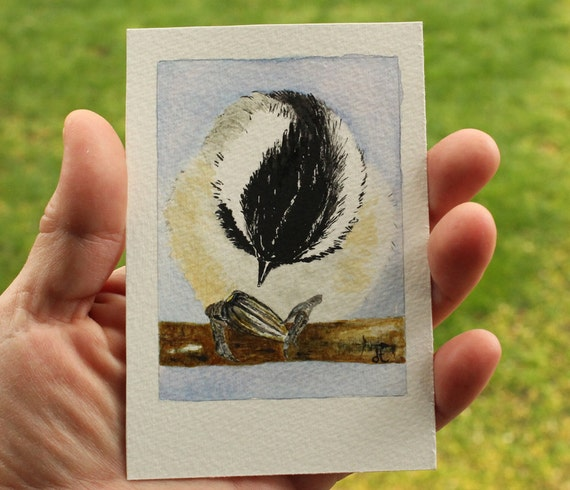 Original watercolor painting / ACEO / Birds in our garden series no. 21  / Chickadee with Sunflower Seed