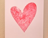 MARBLED HEART - screen printed greetings card