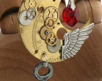 Steampunk Crescent Moon pendant with watch parts, red Swarovski crystal heart and vintage key- Valentines Key To Your Heart jewelry