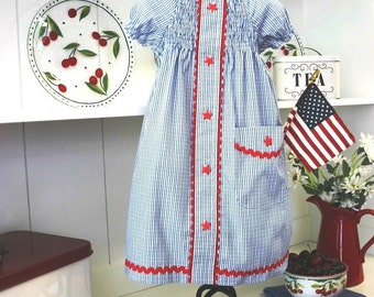 Recycled Dad's Shirt Peasant Dress PDF Pattern - 4th of July Outfit - Reuse Dad's Shirt Upcycled - 4th of July Dress