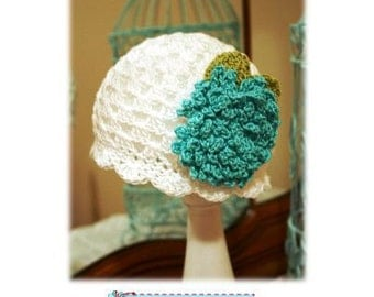Crochet Hat Pattern with Fluffy Crochet Flower Combo Cloche Pattern, Beanie, PDF Epattern, INSTANT DOWNLOAD Newborn-Adult Easy Fit