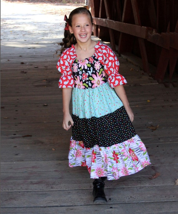 SEW Twirly Tiered Peasant Dress Pattern -  New Scoop Neck Design - Easy PDF Sewing Pattern Children Clothing