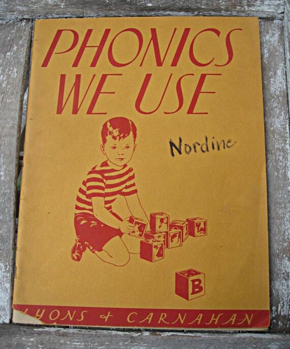 Vintage 1940's phonics workbook, unused, adorable graphics