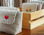 Fox embroidery little purse