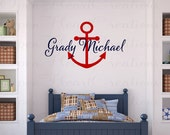 Personalized Nautical Vinyl Wall Decal - Monogram Baby Boy or Girl Wall Decal with Boat Anchor IN0040