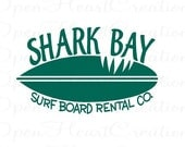 Surf Board Wall Decal - Baby Boy Girl Teen Vinyl Wall Decal with Shark Surfing Ocean Theme 22H x 36W BA0022