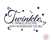 Twinkle Twinkle Little Star Wall Decal - Nursery Decal Quote Lettering with Stars 22H x 36W BA0028