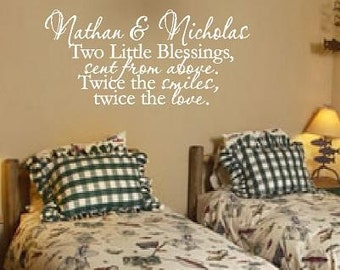 Twin Wall Decal Quote Saying Poem Phrase - Brothers or Sisters Wall Quote for Baby Twin Nursery or Bedroom BA0093
