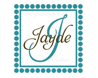 Initial and Name Vinyl Wall Decal with Polka Dot and Square Frame Border FN0121