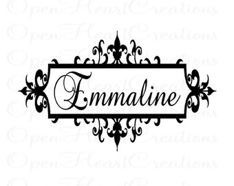 Shabby Chic Baby Name Wall Decal - Personalized Baby Nursery Monogram Vinyl Wall Decal Elegant Frame 22h x 36w BA0009
