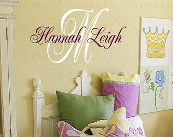 Initial and Name Personalized Vinyl Wall Decal - Baby Nursery Girl Boy Elegant Script Style Font IN0015