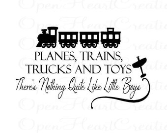 Boy Wall Decal - Playroom Bedroom Baby Nursery Vinyl Wall Lettering Quote Planes Trains Trucks Toys 22h x 36w BA0205