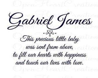 Custom Baby Nursery Vinyl Decal - Baby Poem Wall Decal Lettering Quote Saying Prayer 22h x 36w BA0209