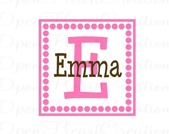 Polka Dot Name Wall Decal - Initial and Name Monogram Square Frame Border - Fun Vinyl Sticker FN0126