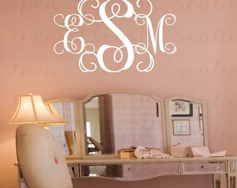 Three Initial Script Monogram Decal - Baby Nursery Master Bedroom Teen Name Wedding Decal 22 INCHES H X 36 Inches Pd0026