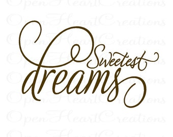 Nursery Wall Quote - Sweetest Dreams Baby Nursery Vinyl Wall Decal - Girl or Boy Wall Lettering Quote Saying Decor 20H x 32W BA0100