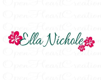Name Wall Decal with Flowers - Baby Girl Teen Wall Decal Decor - Personalized Name Wall Decal with Hibiscus Flowers FN0314