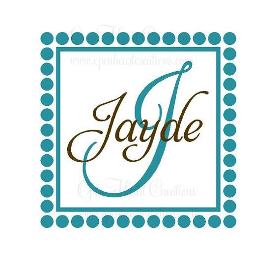 Initial and Name Vinyl Wall Decal with Polka Dot and Square Frame Border 22H x 22W FN0121