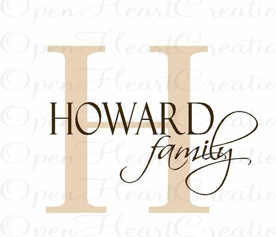 Personalized Family Name Wall Decal with Initial and Name - Monogram Vinyl Wall Decal - Wall Decals 22 x 28 PD0011