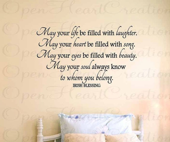 """Wall Decals - Irish Blessing Vinyl Wall Quote - May Your Life Be Filled With Laughter - Baby Nursery 22""""h x 36""""w QT0156"""