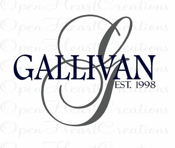 Family Name Wall Decal - Personalized Monogram Vinyl Wall Decal - Elegant Initial and Name 22H x 30W PD0005