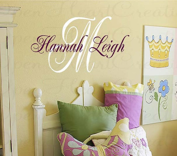 Initial and Name Personalized Vinyl Wall Decal - Baby Nursery Girl Boy Elegant Script Style Font IN0015S