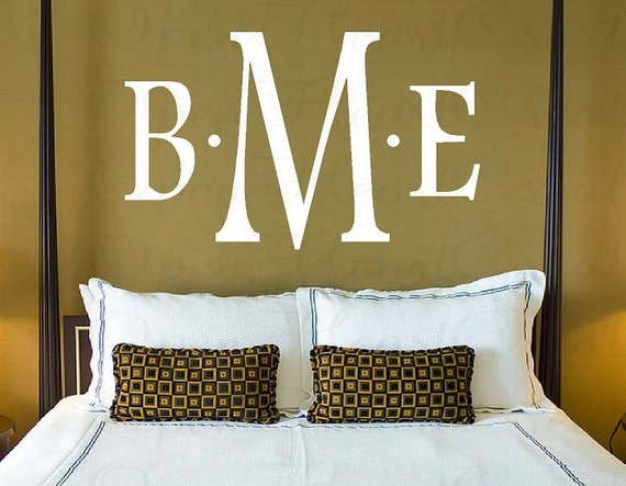Three Initial Monogram Decal - Traditional Block Font Baby Nursery Master Bedroom Wedding Decor 22 INCHES H X 36 Inches Pd0022