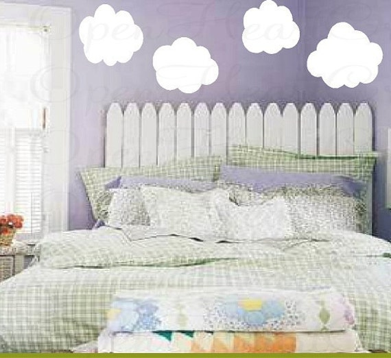 Cloud Wall Decals - Set of 4 Vinyl Wall Graphics for Baby Nursery Kids Children Play Room Decor NW0023